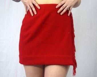 Ralph Lauren Red Wool Fringe Wrap Skirt