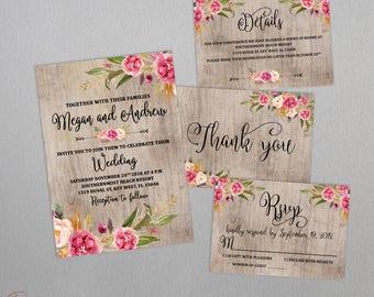 Rustic wedding invitation set PRINTABLE, custom floral rustic wedding invitation, wedding invitation suite, rustic details card printable