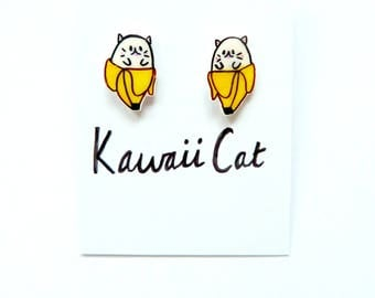 STERLING SILVER Bananya Earrings Banana Earrings Shrink Plastic Earrings Kawaii Earrings