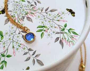 Simple Birthstone Necklace, Dainty Swarovski Crystal Choker or Short Everyday Necklace