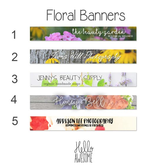 Floral Etsy Shop Banners for Creatives Custom Branding Design