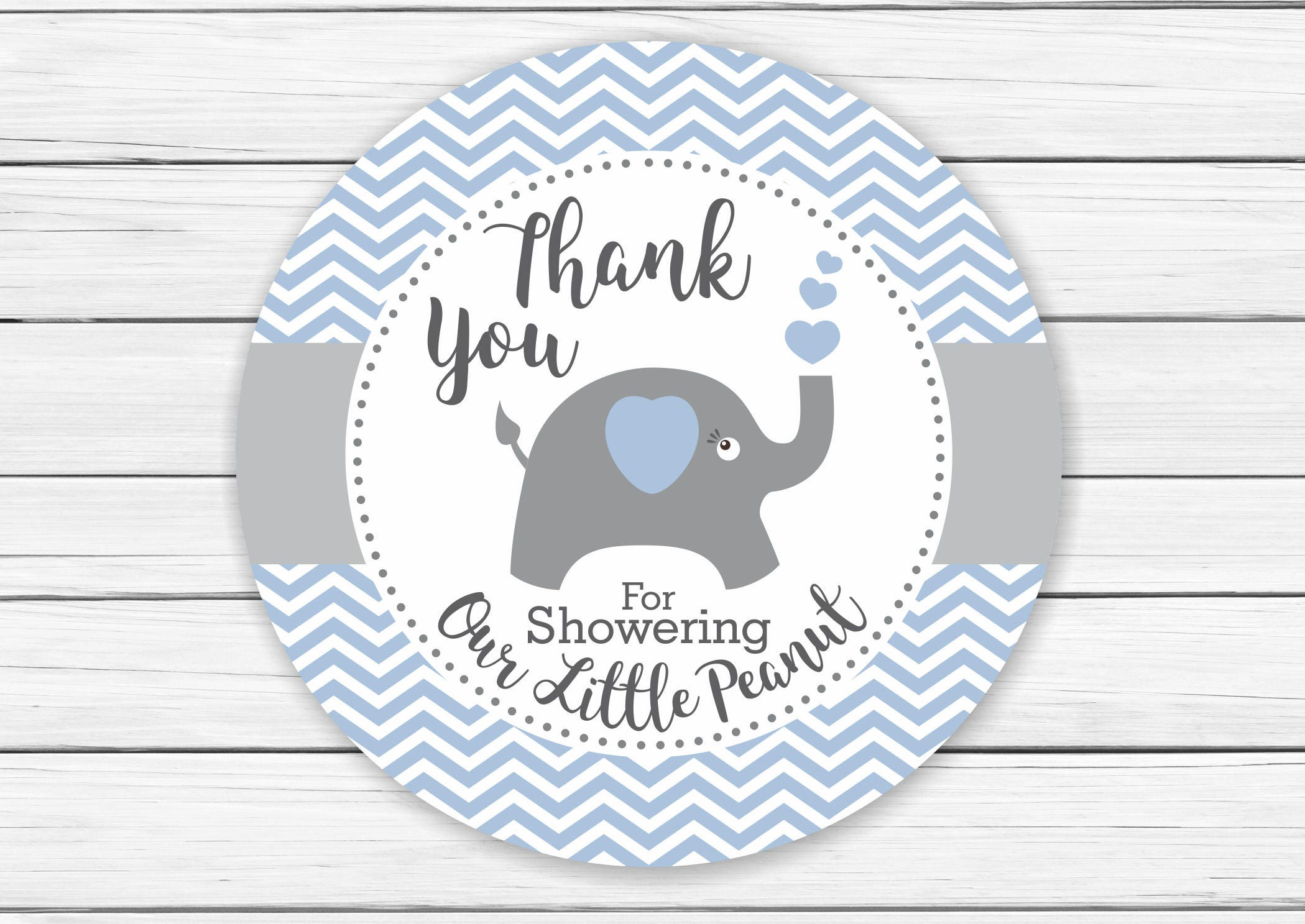 Elephant Baby Shower Favor Thank You Tags for Boys Chevron