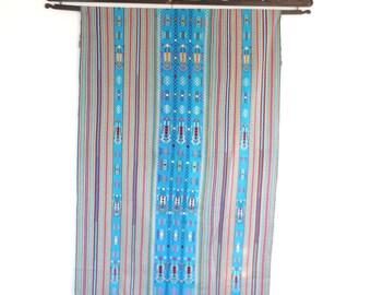 Indonesian Ikat, Hand woven Textile, Ayotupas Blanket, Turquoise Woven Blanket -  Ikat wall Hanging,  Indonesian Textile. Blue Ayotupas