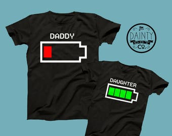 Dad empty battery, Matching T Shirts, empty  full battery Matching T Shirts, Daddy and me TShirts, Daughter T-shirt Set, Father Son Set,Baby