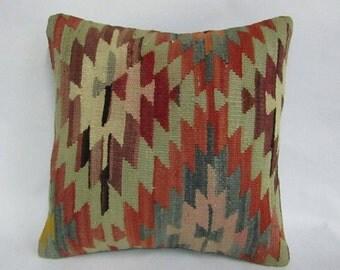 Decorative Turkish Kilim Pillow Cover,16x16 inches,40x40cm,Anatolian Kilim Pillow