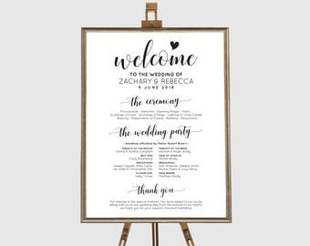 Wedding program sign, Order of events sign, Wedding itinerary sign, Wedding timeline rustic, Rustic wedding sign template, Wedding schedule