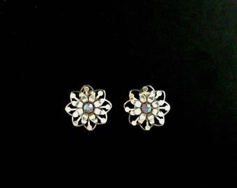50s Silver and Blue Aurora Borealis Earrings  GJ2833