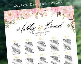 Boho Wedding Decor, Wedding Seating Chart, RUSH SERVICE, Wedding Seating chart alphabetical, Pink Floral Floral Table - US_WC0301