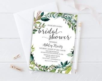 Watercolor Bridal Shower invitation, Bridal shower invitation, Rustic bridal shower invitation, Floral Bridal Shower - US_BI0507