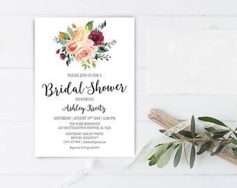 Watercolor Bridal Shower invitation, Bridal shower invitation, Rustic bridal shower invitation, Floral Bridal Shower - US_BI1301