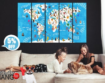 Kids World Map, World map art decor, Map for babies, Map for children, Colorful world map, World map of animals, World map, World map art