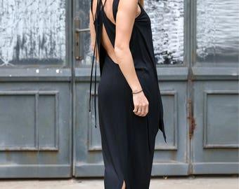 Black Dress, Open Back Dress, Summer Dress, Maxi Dress, Kaftan Dress, Black Abaya Dress, Sleeveless Dress, Cotton Dress,Plus Size Maxi Dress