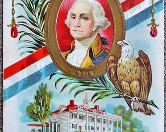 c.1912 President George Washington Embossed Portrait Eagle Color Postcard; Enhanced with Gold Leaf