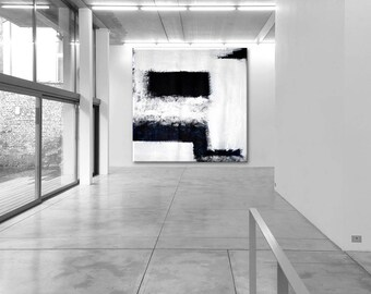 "Abstract XL 27 x 27"" inch XXL extra large black white  heavy texture painting unique original canvas handpainted gift housewarming"
