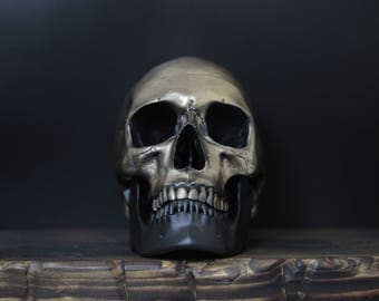 The Black Jaw - Aged Gold Full Scale Life Size Realistic Faux Human Skull Replica with Removable Jaw  / Art / Ornament / Home Decor
