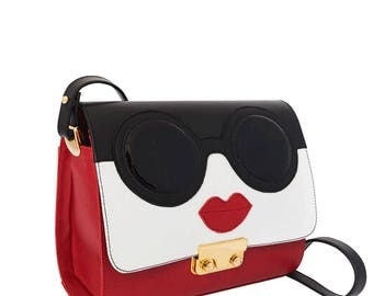 Red leather Minibag shoulder bag goggles-women's handmade leather bag