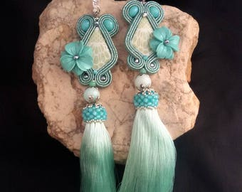 soutache earrings green mint, soutache, soutache jewelry, soutache jewels, soutache embroidery, handmade earrings, tassel earrings