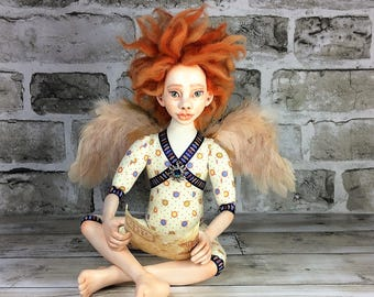 Angel With a Letter Art Doll, OOAK, Collectible Art Doll, Handmade Doll, Interior Doll, Boudoir Decor