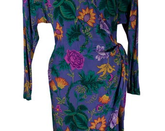 Ellen Tracy Vintage Floral 100% Silk Wrap Dress