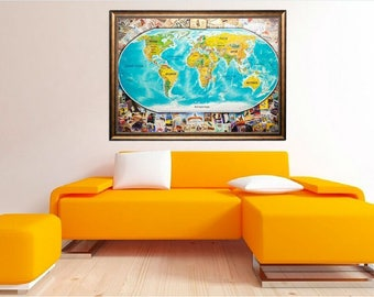 Wall Map World, World Map, World Map Poster, World Map Scratch, World Map Print, World Map Wall Art, Blue World Map, Travel Map, Travel Gift