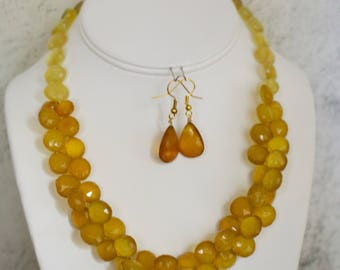 Yellow Chalcedony Necklace with Matching Earrings.