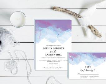 printable invitation - watercolor invitation - wedding invitation - watercolor - sugarbrush design