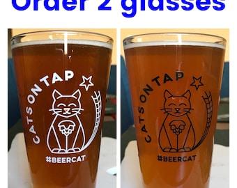 Order (2) CatsOnTap #BeerCat 16 oz Pint Glass