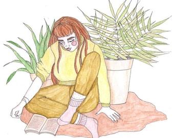 Redhead Plant Girl Original Illustration Print