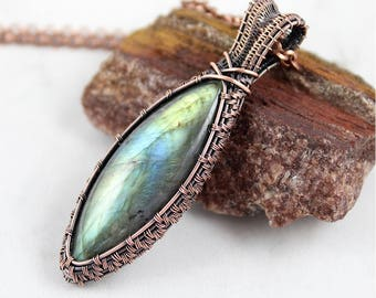 Labradorite Necklace / Wire Wrapped Jewelry / Copper Jewelry / Labradorite Jewelry / Handcrafted / 7th Anniversary Gift