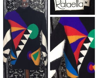 Angora Vintage Sweater Colorblock Abstract Graphic New Wave Geometric 80's Rafaella M Mock Turtleneck Soft Lambswool Hong Kong