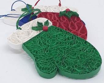 Quilled Mitten Ornament. Three color choices. Includes free gift package.
