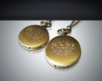 2 Personalized Gold Pocket Watches - Gifts for Him & Her gold watch - Usher and Groomsmen gift - 2 Wedding gifts - Best Man gift set