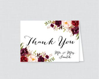 Printable OR Printed Wedding Thank You Cards - Marsala and Pink Floral Thank You Cards Wedding - Rustic Flower Personalized Thank You 0006