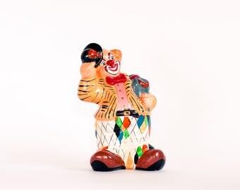 Creepy Clown Coin Bank, Ceramic Clown Figurine, Kitsch Clown Statue, Clown Money Box, Creepy Clown Doll, Vintage Clown Statue