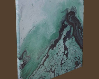 Original Acrylic Abstract Painting  - Green and Brown - 12 x 12
