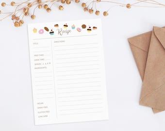 Printable recipe cards, recipe cards, Recipe card 5x7, Sweets recipe card, Illustrated recipe card, wedding shower recipe cards printable