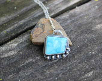 "SLEEPING BEAUTY TURQUOISE Pendant, Handmade, Sterling Silver, Asymmetrical, 20"" Sterling Silver Chain"