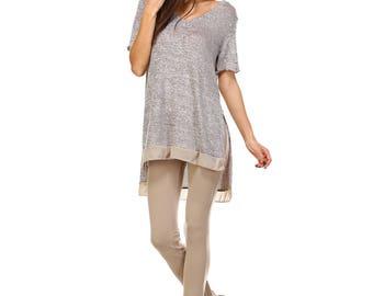 Women's Mocha Side Slit V Neck Tunic, Contrast, Size S M L XL - Made in USA