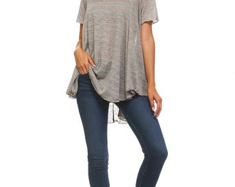 Women's Oatmeal Flowy Tunic, High Low Top, Short Sleeve, Flowy, Ladies Swing Tunic, Size S M L XL - Made in USA