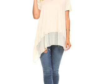 Women's Oatmeal Assymetrical Tunic Top, Scoop Neck, Chiffon Contrast, Fashion, Size S M L XL - Made in USA