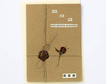 You Are Precious Romantic Handmade Wax Seal Dried Flower Greetings Card
