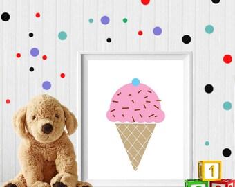 Ice cream, Ice cream print, Ice cream printable, ice cream, nursery print, nursery art, Ice cream nursery, digital file, Scandinavian design