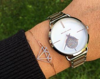 Rose gold plated diamond bracelet.