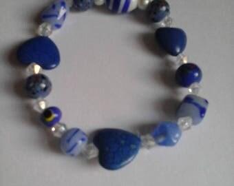 Semi-precious Stone Bracelet, Glass Beads, Stretchy Cord, Three Hearts Bracelet, Beaded Bracelet, Beaded Bracelet for Women