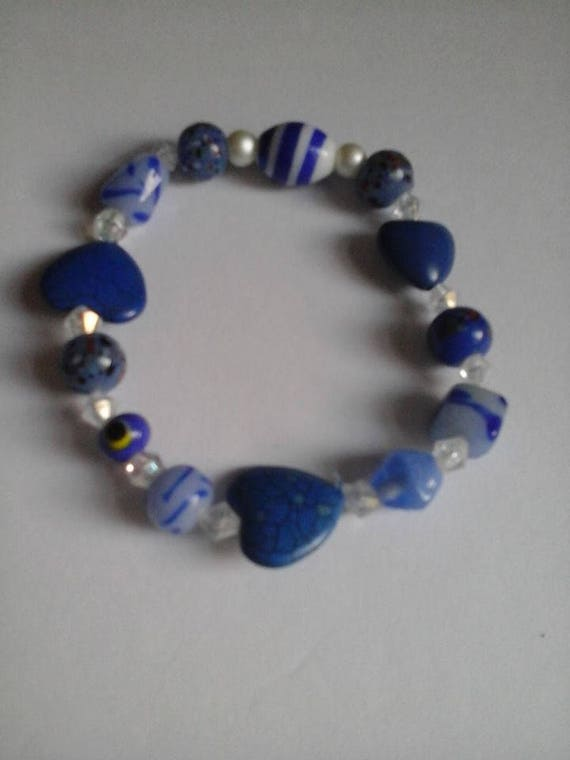 Semi-precious Stone Bracelet, Glass Beads, Stretchy Cord, Three Hearts Bracelet, Beaded Bracelet, Beaded Bracelet for Women