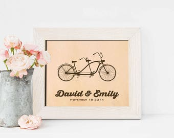 3rd Wedding anniversary gift leather engraved date picture, third anniversary gift for men, wife - KA0114