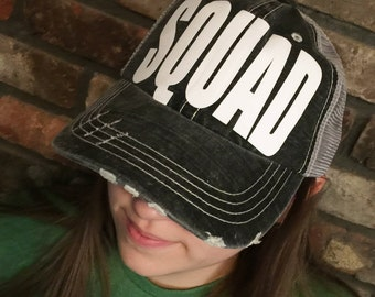 SQUAD-Distressed Trucker Hat-New-Ready to Ship