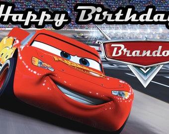 Cars Birthday Banner 2'x3.5' // Custom Vinyl Banner // Kids Birthday Backdrop // Cars Wall Decor // Cars Banner