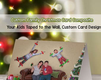 Funny Christmas Photo Card, Personalized Christmas card, Greeting Card, Duct Tape Prop, Children taped to Wall, Christmas Card, Photo Card