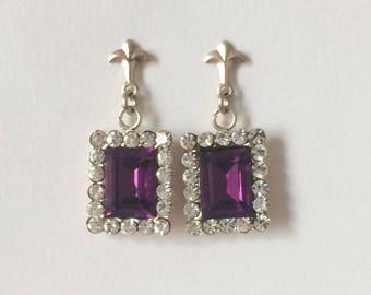 Vintage 1950's Amethyst Purple Clear Austrian Crystals Sterling Silver Fleur De Lis Dangle Drop Earrings